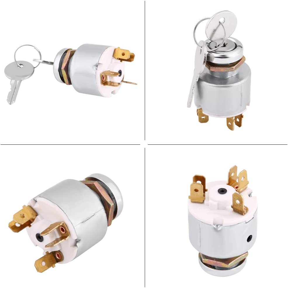 Ignition Switch 12V Car Ignition Switch W// 2 Keys 4 Position On//Off//Start//ACC Ignition Starter Key Switch Replacement for Lucas SPB501 for Car Motorcycle Boat
