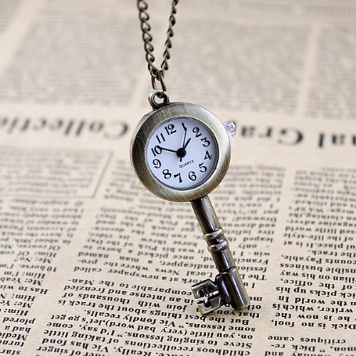 FEELONTOP Antique Key Fashion Alloy Pendant Watch Necklace Pocket Watch with Free Jewelry Pouch - Novelty Pocket Watch