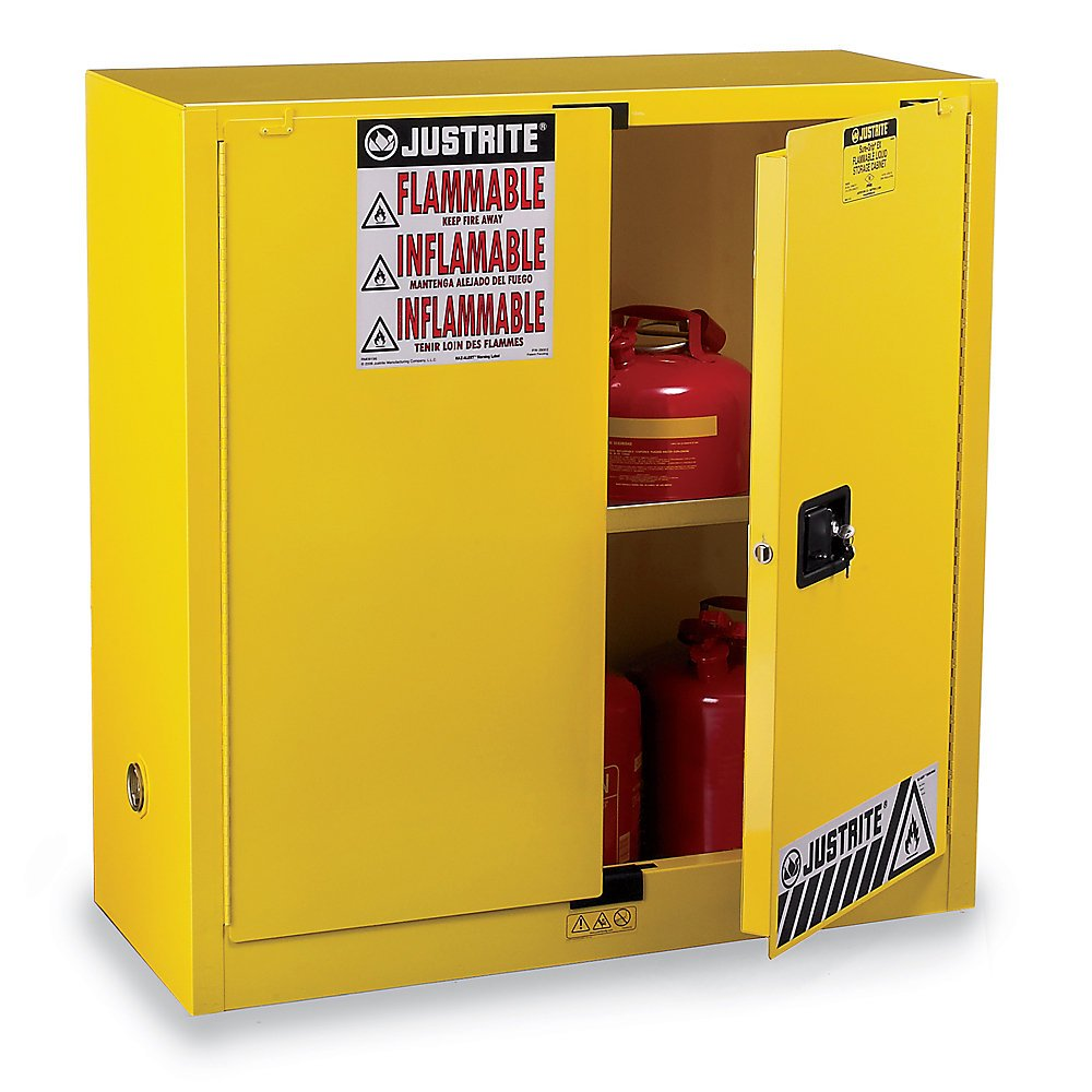 Justrite Sure-Grip Ex Flammable Liquids Safety Cabinet - 43X18x65'' - 45-Gallon Capacity - Manual-Closing Door - Red - Red