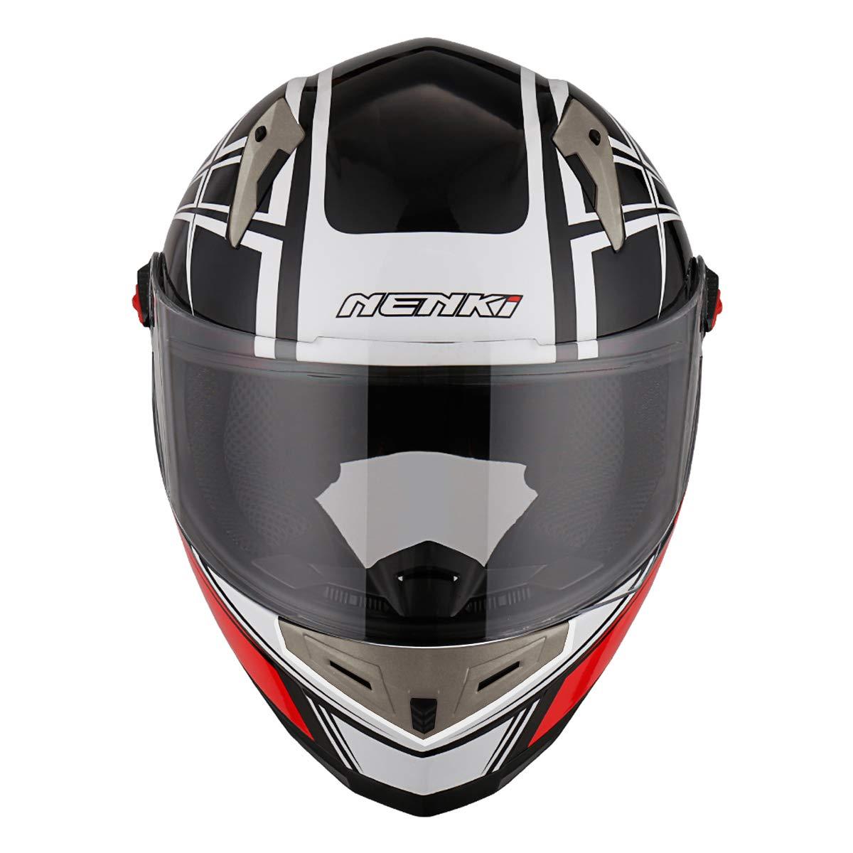 Negro Rosa Gris, M 57-58CM NENKI Casco Integral Moto NK-863 para Mujer Hombre Adultos,ECE Homologado