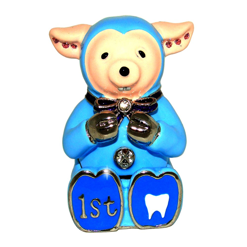 Objet D'Art Release 440 Baby Boy's First Tooth Child's Fable Handmade Jeweled Metal & Enamel Trinket Box Artform Fine Collectibles AFOA11011