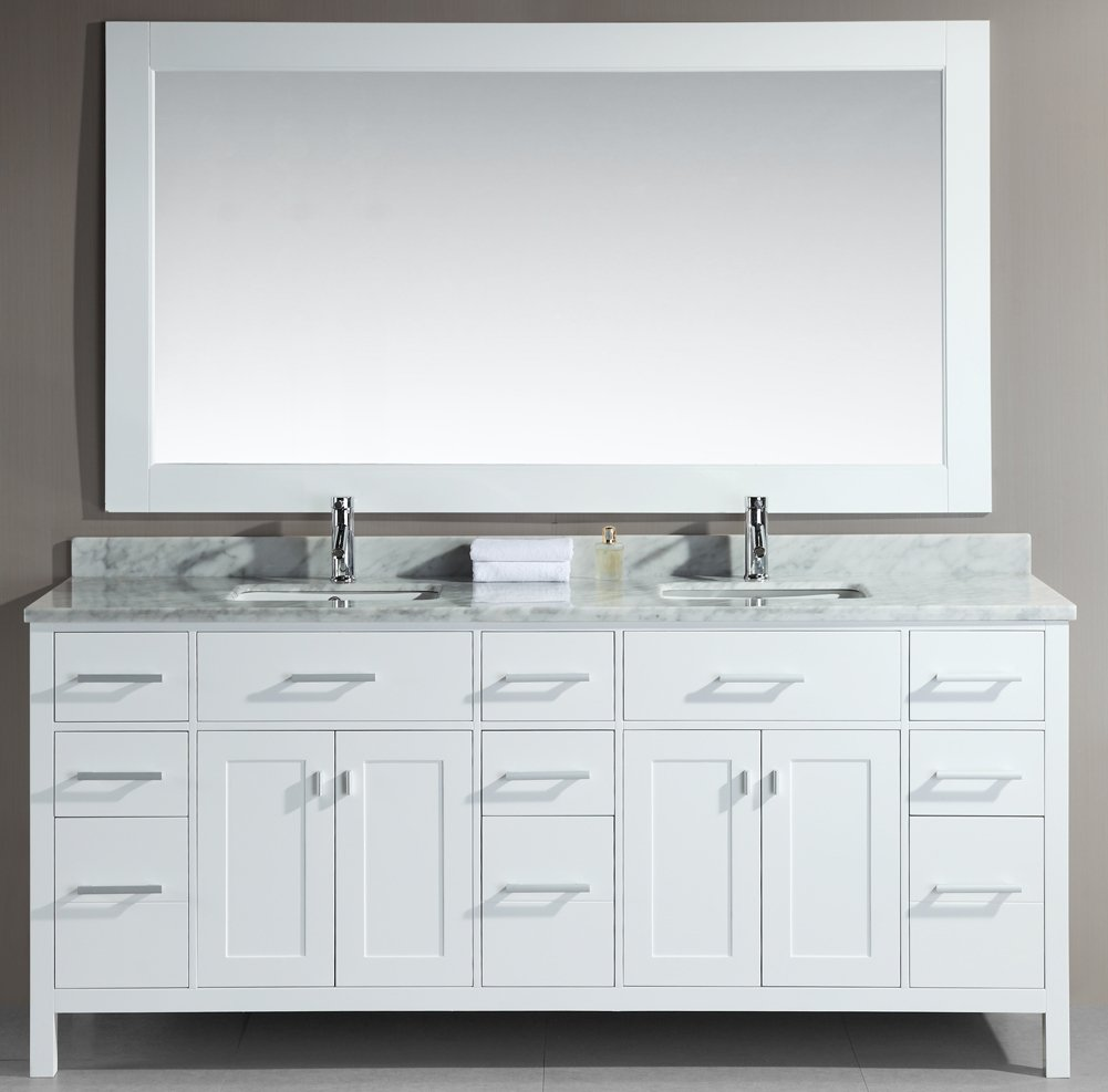 Design Element DEC088-W London 78-Inch Double Sink Vanity Set, White ...