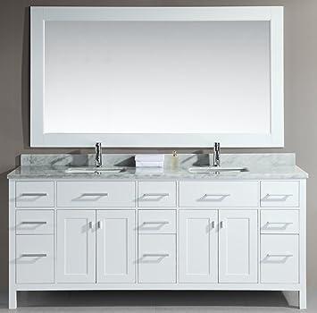 double sink vanity white. Design Element DEC088 W London 78 Inch Double Sink Vanity Set  White