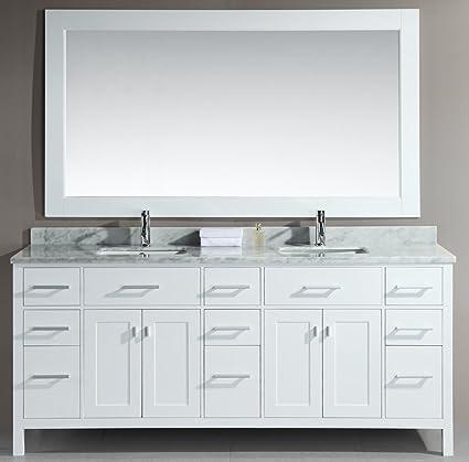 Design Element DEC088 W London 78 Inch Double Sink Vanity Set, White