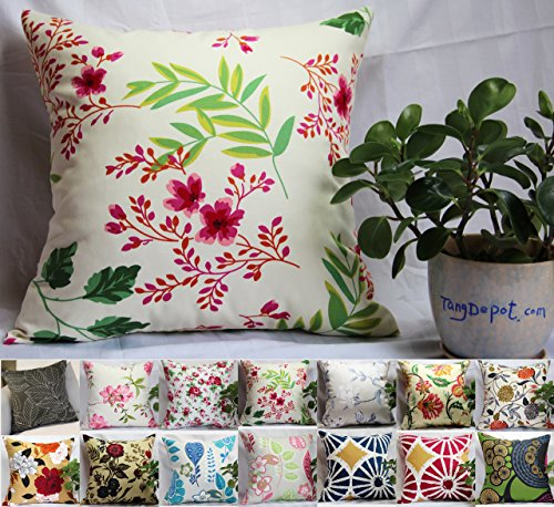 TangDepot 100% Cotton Floral/Flower Printcloth Decorative Throw Pillow Covers /Handmade Pillow Shams, 14 Color and 10 Size options, Light Black, Peach…