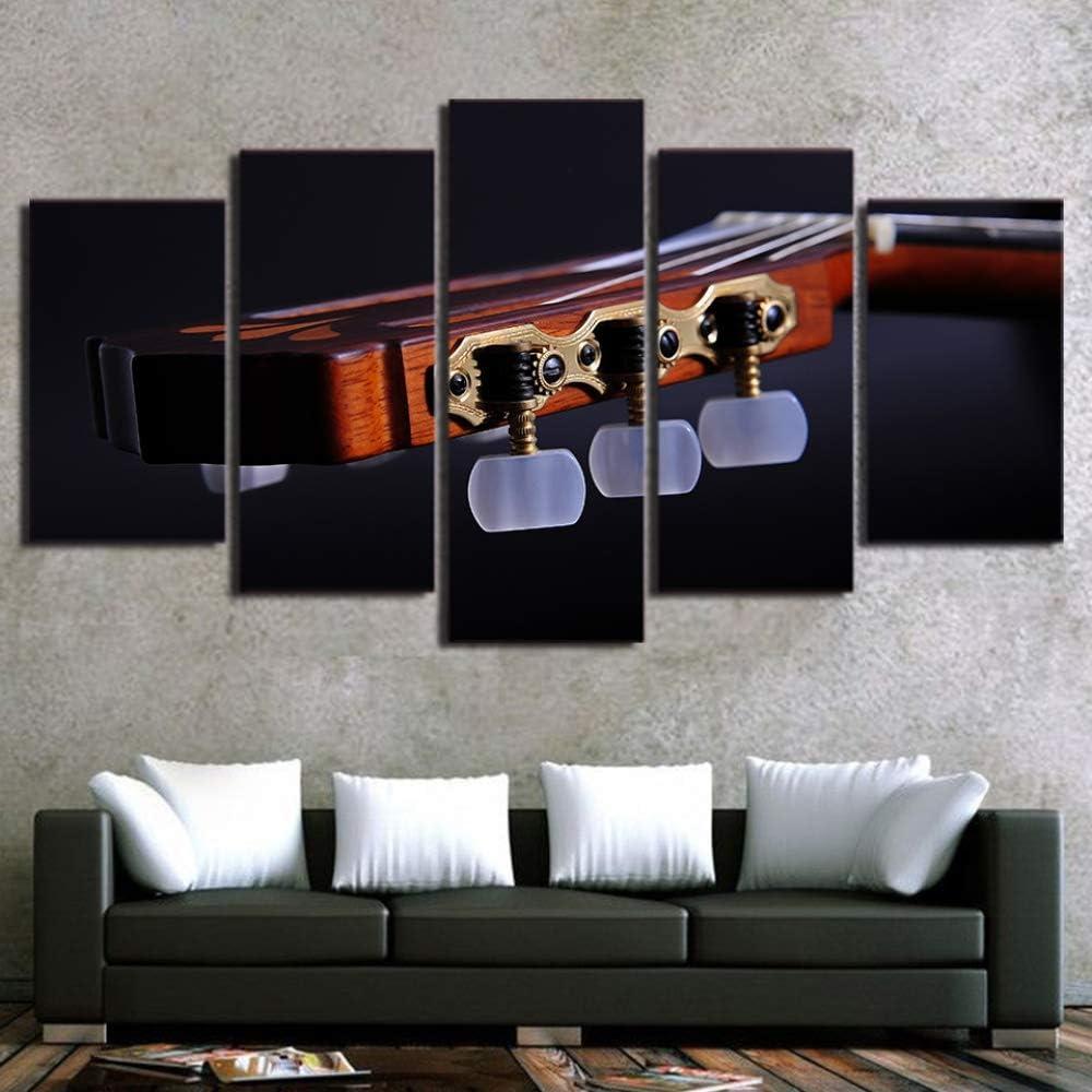 DGGDVP Arte de Pared 5 Piezas Lienzo Arte Cuerdas de Guitarra Instrumento Musical Pintura Cuadros de Pared para Sala de Estar tamaño 2 sin Marco