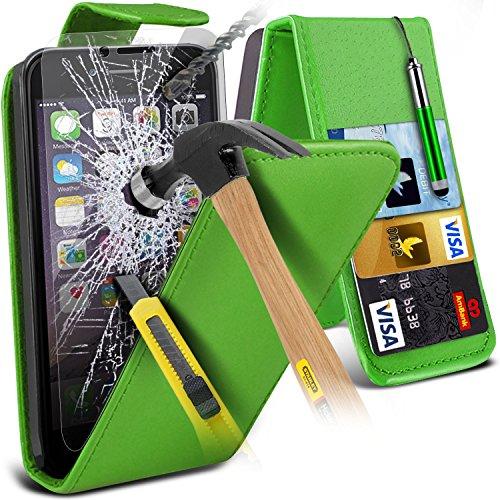 Spyrox ( Green ) Apple iPhone 6S Case Stylish Fitted PU Flip cuir avec / carte Débit Crédit couverture de peau Slot cas avec Protecteurs d'écran en verre trempé Crystal Clear LCD, Chiffon & Mini Style