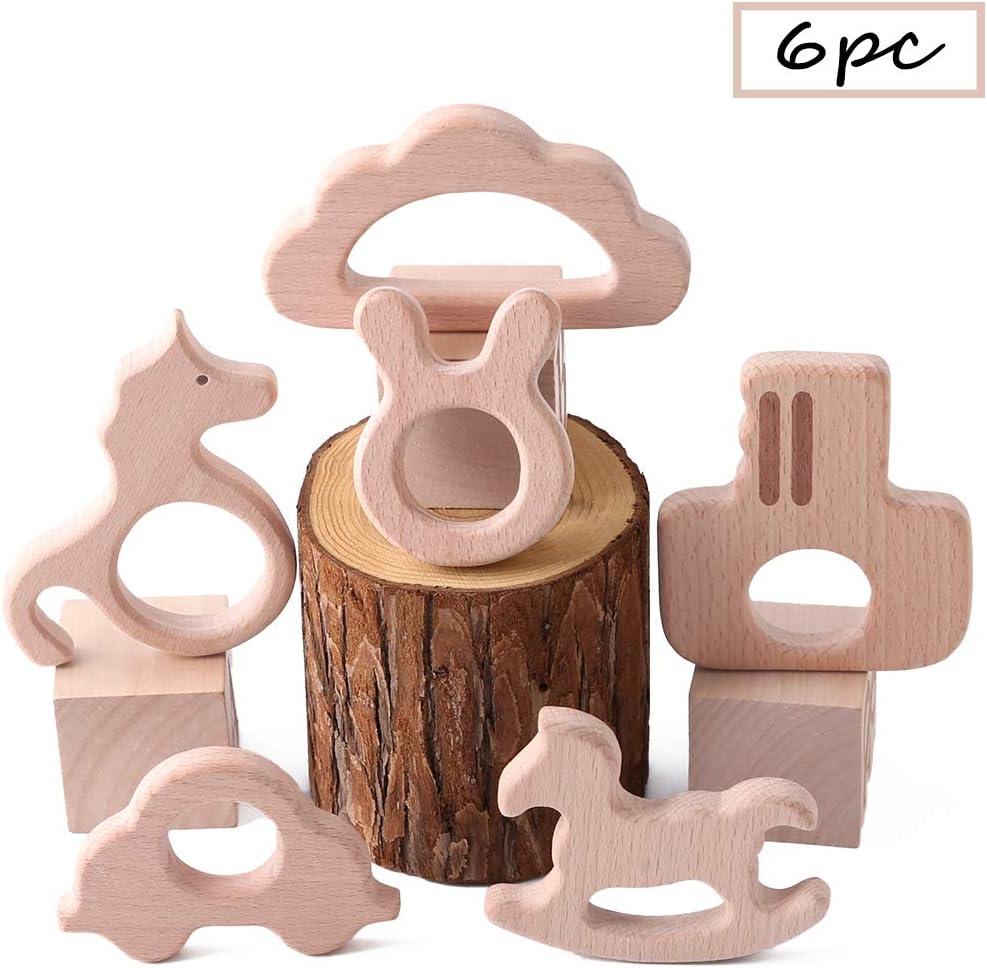 Best for baby 6PC Bebé dientes Accesorios de enfermería Juguetes Bricolaje Madera Colgante Flor Corona Estrella de cinco puntas Coche Caballo de Troya Natural Haya de madera