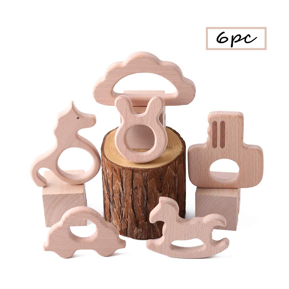 Best for baby 6pc Baby Teether Spielzeug DIY Anh/änger H/ölzern Igel Vogel Fisch Kaninchenkopf Eule Kleine Kamera Umweltfreundlich Buche Produkt
