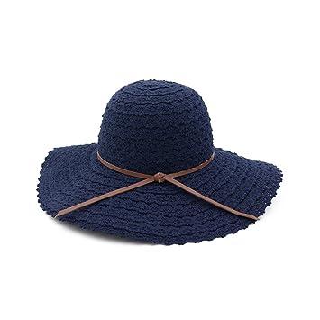 LOF-fei Mujer Verano Sombreros de Sol Pescador Puede Plegar Lace Sombrero  de Paja al Aire Libre Playa UPF 50+ f2453e46549