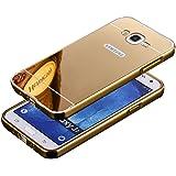 HICASER Aluminium Métal Bumper Coque pour Samsung Galaxy J5 Case 2 en 1 Luxe Mirror Arrière Cover + Frame Etui Housse Or