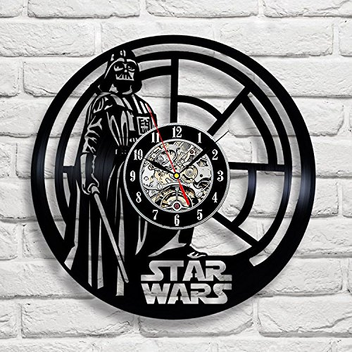 [Darth Vader Star Wars Vinyl Record Wall Clock Fan Gift Black Room Decor Idea] (Father Son Star Wars Costumes)