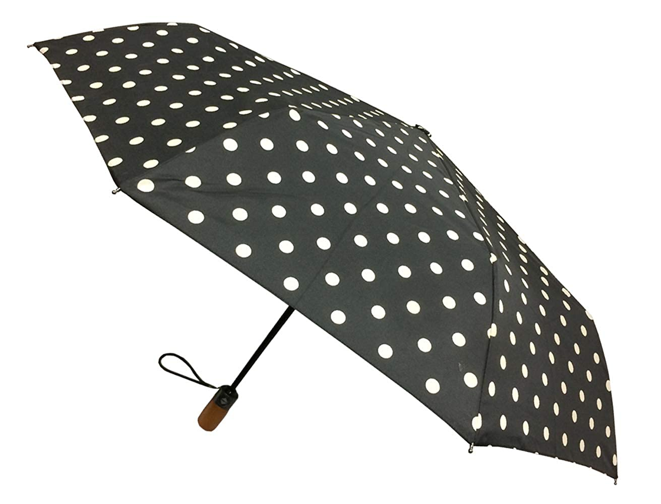 London Fog Auto Open Close Umbrella Dot Black Kenlo Umbrellas 931