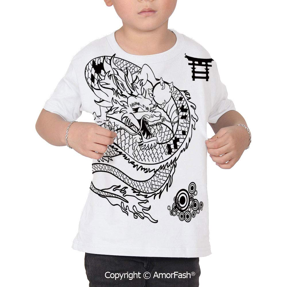 Japanese Dragon Girl Regular-Fit Short-Sleeve Shirt,Personality Pattern,Tattoo A