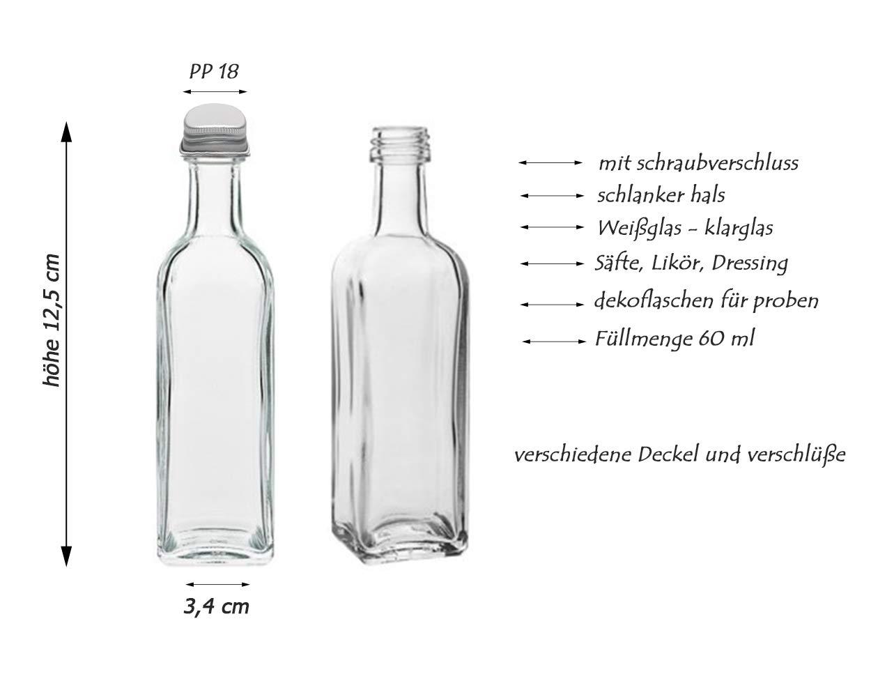 licor cantidad de llenado de 60 ml para botellas de zumo incluye Tap/ón de rosca cuadrado 6//810//16 piezas Juego de botellas de cristal Maraska de Hocz 8 unidades simplemente coloque su propio aceite. plata