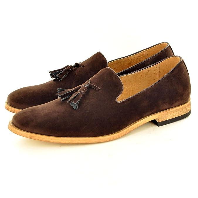 Herren-Loafer mit Quasten aus Wildleder, Lederfutter, Rot - rot - Größe: 40 2/3 EU