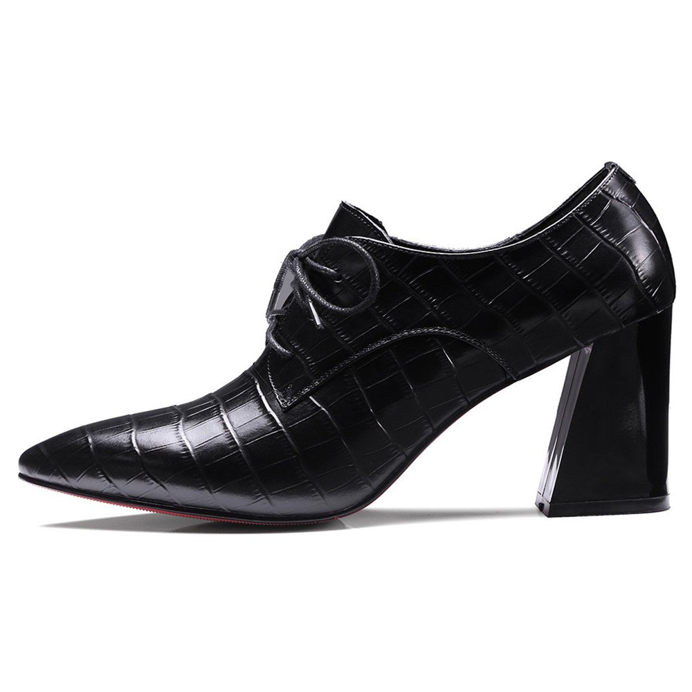 Nine Seven Womens Genuine Leather Clear Pointed Toe Mid Stiletto Heel Handmade Casual Work Dress Pumps Shoes