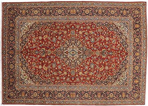 Kashan handmade area rug with burgundies and blues. Size: 9' 9 x 13' 8