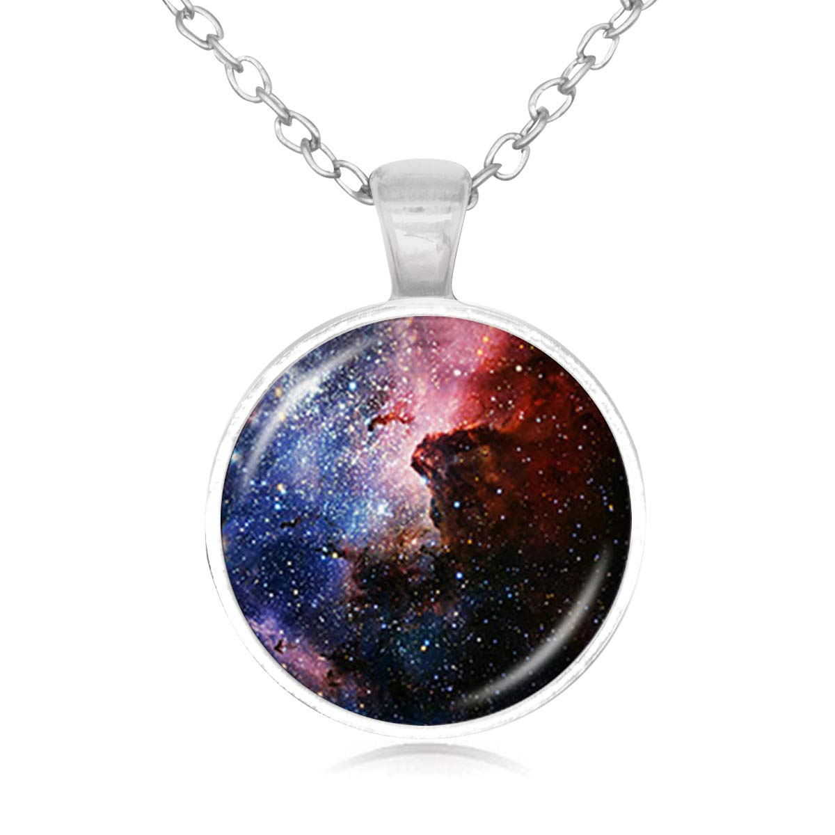 Family Decor Beautiful Starry Sky Pendant Necklace Cabochon Glass Vintage Bronze Chain Necklace Jewelry Handmade