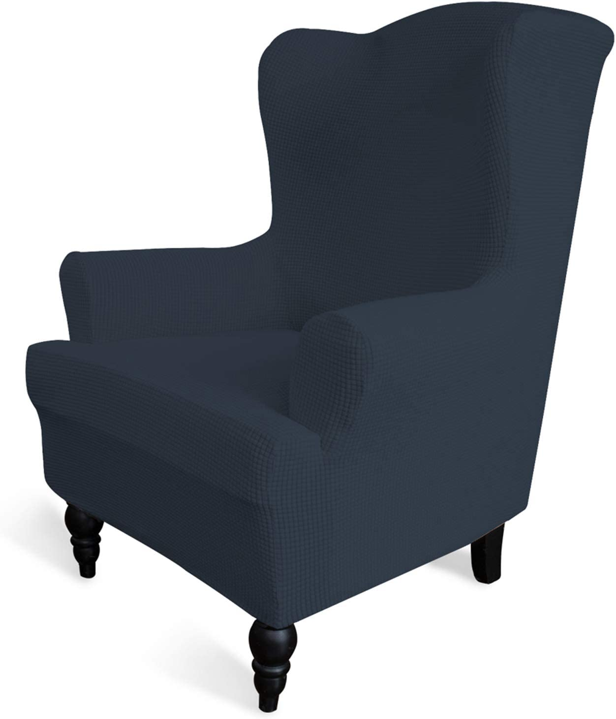 Easy-Going Stretch Wingback Chair Sofa Slipcover 1-Piece Sofa Cover Furniture Protector Couch Soft with Elastic Bottom Spandex Jacquard Fabric Small Checks(Wing Chair,Dark Blue)