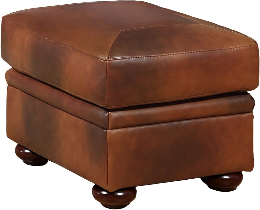 Oliver Pierce Casey Top Leather Ottoman, Brown