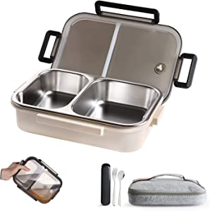 WORTHBUY Stainless Steel Lunch Container, 2 Section Design, Keep Foods Separated, Metal Bento Box with Insulated Lunch Bag Portable Utensil, Kids/Women/Adults, BPA-Free(2nd Generation, White)