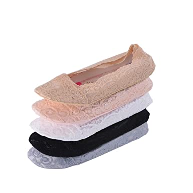 Tuopuda 5 Pairs Women No Show Lace Socks Anti Slip Low Cut Liner Socks