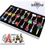 9pcs Cosplay Kingdom Hearts 2 Sora Key Sword Keychain Accessories Necklace Set