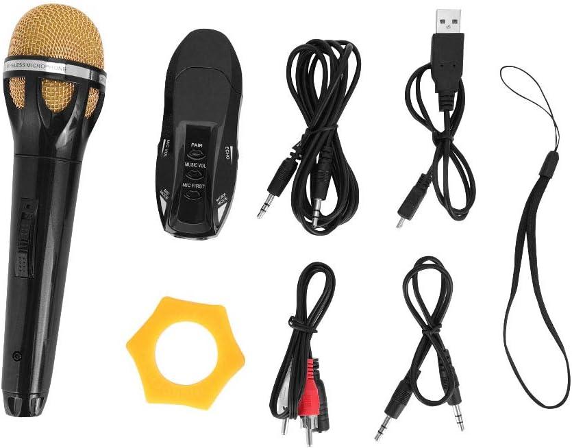 Sistema de micrófonos inalámbricos de mano con cable de audio receptor, micrófono de carga USB, portátil, para bar, KTV, hogar, fiesta, voz