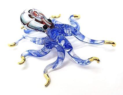 MINIATURE Octopus GLASS BLOWN CLEAR GLASS ART Octopus FIGURINE ANIMAL COLLECTION