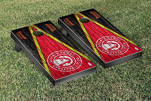 Atlanta Hawks NBA Basketball Regulation Cornhole Game Set Triangle Weathered Version by Victory Tailgate