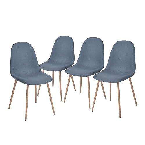 lot de 4 chaises 44x44x87cm grises tendance scandinave tissu pied mtal imprim - Fauteuil De Table
