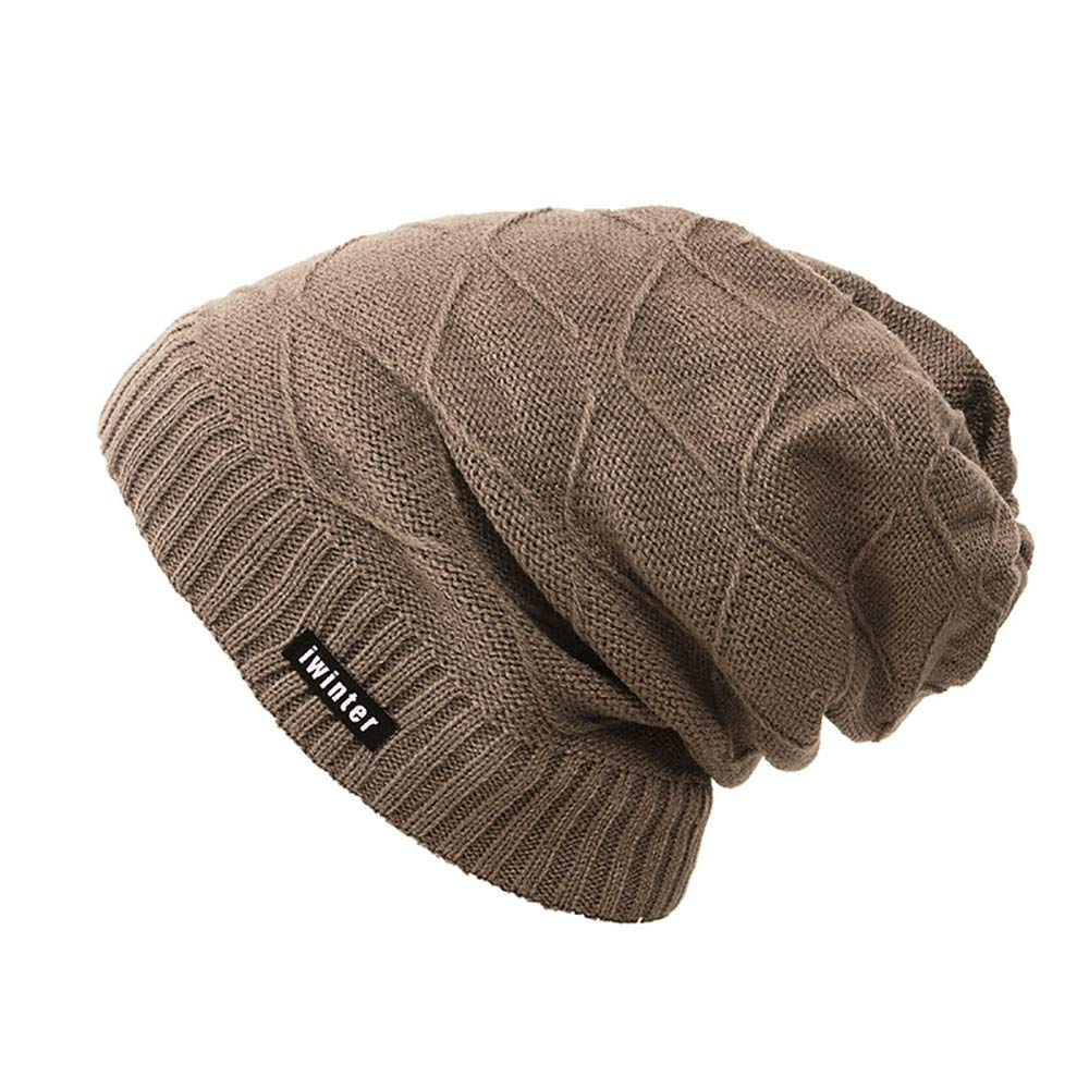 4YOUALL Beanie Hat for Men and Women, Fleece Lined Winter Warm Soft Nap Hats Knit Slouchy Thick Skull Cap (Criss-Cross Knit, Khaki)