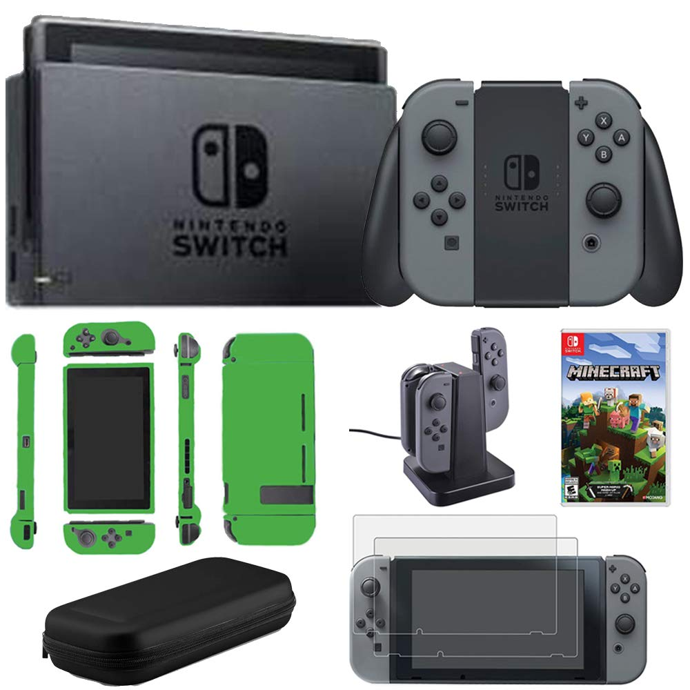 Nintendo Switch 32 GB Console w/Gray Joy Con (HACSKAAAA) Switch Minecraft + 2-Pack Screen Protector + Joy-Con Charging Dock + Hard Shell Travel Carrying Case Switch Lime Skin
