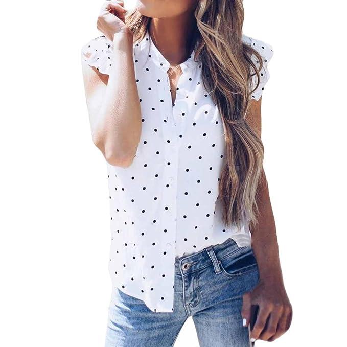 ASHOP Camisetas Muje, Camisetas Sin Mangas EN Oferta Suelto Tops Blusas de Mujer Elegantes de Fiesta Baratas Impresión de Puntos Gasa T-Shirt Moda 2018: ...