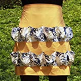 Chicken Egg Apron Bib Kitchen Workwear Waist Tool Aprons Cotton Eggs Gathering Collecting Utlity Work Shop Aprons Multi-Use Garden Apron with 12 Pockets for Women Girls WQ06 (Orange and blue flowers)