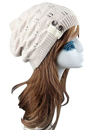 f0ee9b89cb9 Mr.Seven Womens Chunky Warm Cable Knit Lace and Buttons Beanie Skully Cap  (One