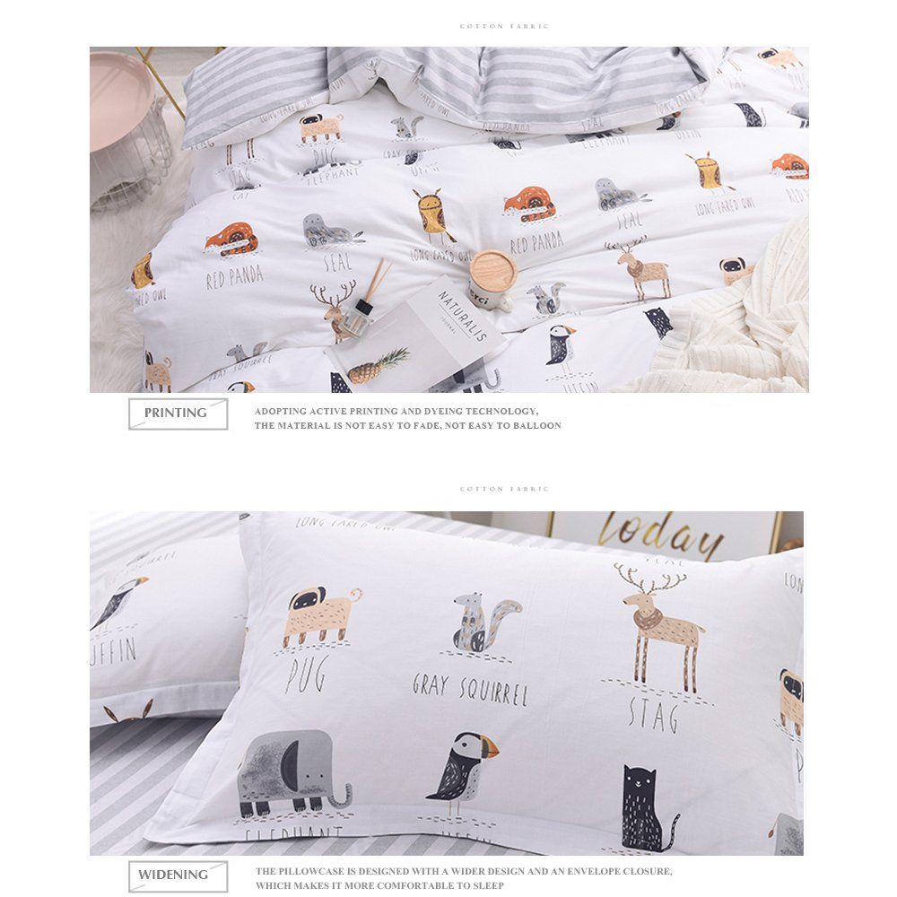 Enjoylife Cute Animal Reversible 3pcs Bedding Set Printing Cartoon Cute pet Duvet Cover Super Soft for Children/Adults 100% Cotton Comforter Cover Full Queen Size by EnjoyLife Inc (Image #6)