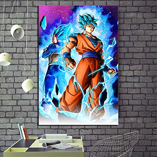 ARTZHU Super Saiyan Blue Goku and Vegeta Dragon Ball Super Anime,Wall Art Home Wall Decorations for Bedroom Living Room Oil Paintings Canvas Prints -120 (Unframed,Framed) (12x18inch(Unframed)) (Goku Super Saiyan Poster)