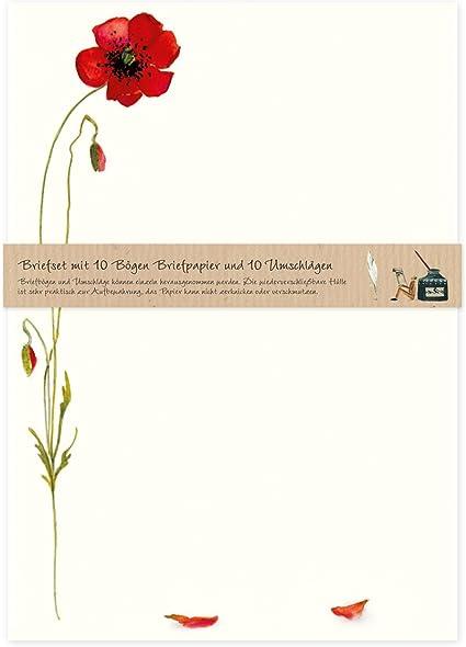 Motivpapier Briefpapier Mohnblumen 20 Blatt A4 Sommer Blumen Mohn Mohnblüte rot