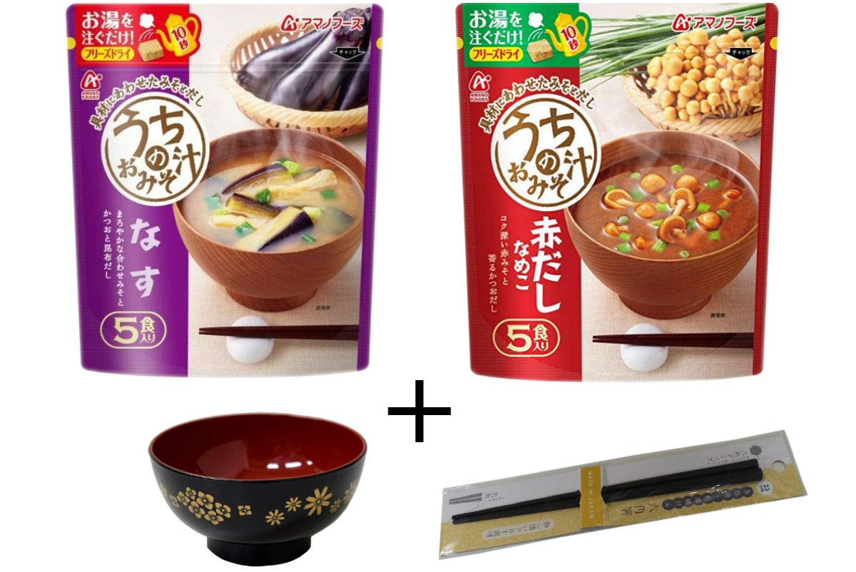 Amano Foods freeze-dried miso soup total 10 packs and Japanese soup bowl & chopsticks No.a088
