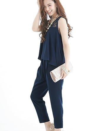 ddd11fa0074da プールヴー セットアップ パンツドレス お呼ばれ 女子会 レディース ネイビー 3Lサイズ 15号 ドレス