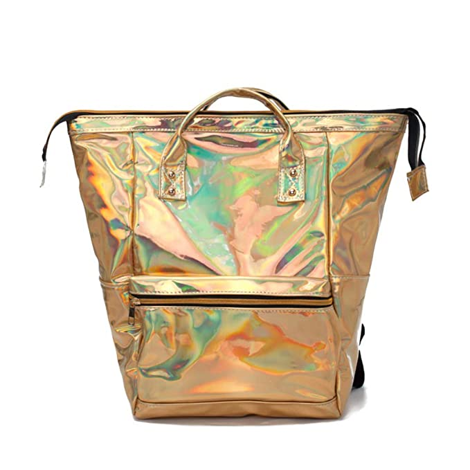 c7344d236b44 Amazon.com  CYBERNOVA fashion laser PU leather backpack holographic  rucksack bling glitter casual daypack