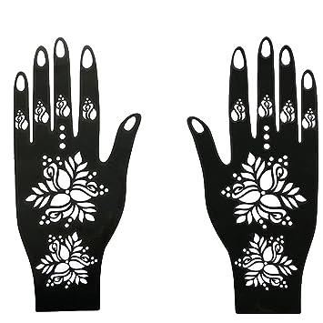 Amazon Com Reusable Henna Tattoo Stencil Exquisite Flower Temporary