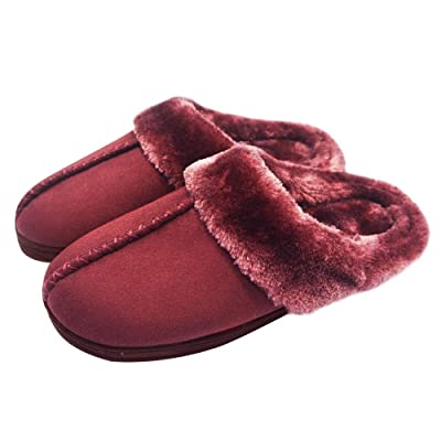 WEB&MORDEN Women's Soft Fuzzy Slippers with Faux Fur Collar, Fluffy Slip-On Suede Fur Lined House Shoes with Memory Foam Insole | Slippers