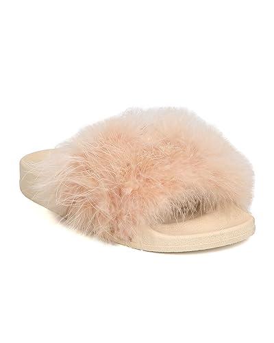 fddf93d9c23d CAPE ROBBIN Women Feather Fluffy Open Toe Slip On Sandal FH37 - Nude (Size