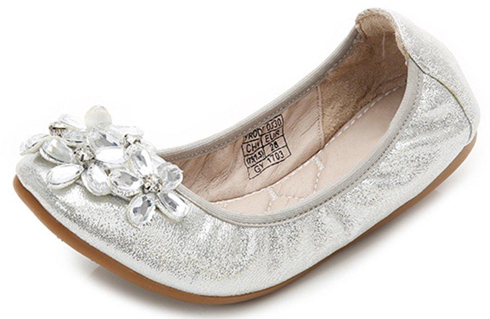 VECJUNIA Girl's Glitter Rhinestones Flowers Comfortable Round Toe Flats Loafers Shoes (Silver, 1.5 M US Little Kid)