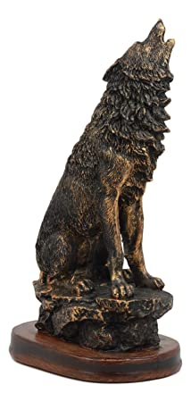 Ebros Wildlife Howling Wolf Statue 10.5 Tall Alpha Wolf Pack Figurine in Faux Bronze Finish