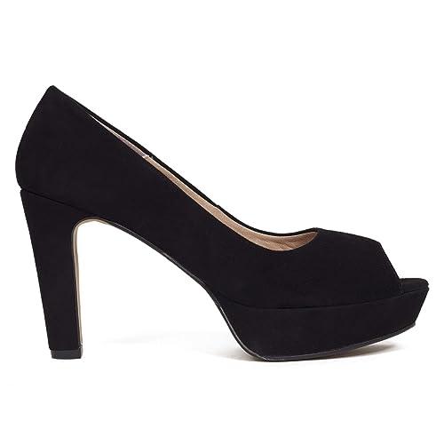 9a1d845f35d3 Zapatos miMaO. Peeptoes Piel Mujer Hechos EN ESPAÑA. Zapatos de Tacón.  Zapato Mujer Plataforma. Zapato Tacón Cómodo con Plantilla Gota Confort Gel