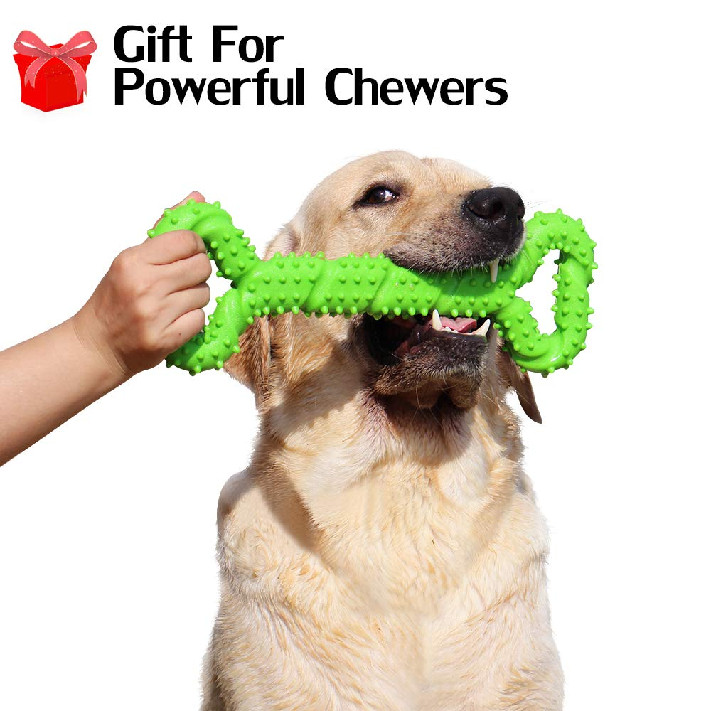 Durable Dog Chew Toy for Powerful Chewers Large Medium Dogs, 13 Inch Large Solid Rubber Chew Toy with Soft Massaging Surface for Tooth Cleaning, Interactive Dog Tug Toy